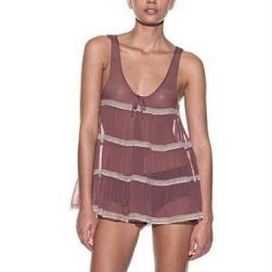Kiki De Montparnasse Mauve Silk Lounge Slip Dress